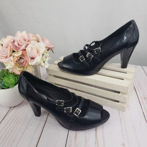 Naturalizer Black PU Leather Grateful Strap Heels